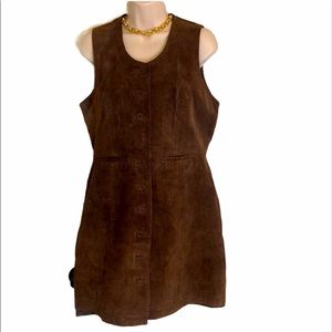 Kathy Ireland brown leather overall dress size M